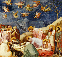 Giotto: Lamentation Fresco At Arena Chapel Crowded People   Space. Figures  Are Turned Away