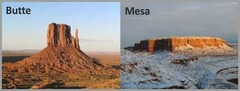 What are mesa's and Butte's ? How are they formed ?